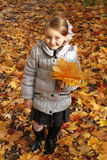 Little girl with yellow leaf in autumn royalty free stock photography