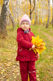 Little girl with yellow leaves Stock Photos