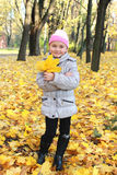 Little girl with yellow leaves in the park Stock Photography