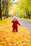 Little girl with yellow maple leaves Stock Photos