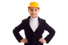 Little girl in yellow protective helmet Royalty Free Stock Photography