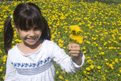 Little girl in yellow spring meadow Royalty Free Stock Photos
