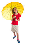 Little Girl and Yellow Umbrella II Royalty Free Stock Images