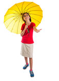 Little Girl and Yellow Umbrella IV Royalty Free Stock Image