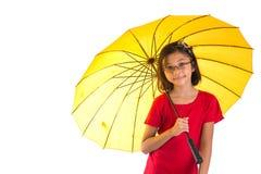 Little Girl and Yellow Umbrella V Stock Photography