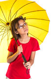 Little Girl and Yellow Umbrella VI Royalty Free Stock Photography