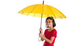 Little Girl and Yellow Umbrella VII Royalty Free Stock Photos