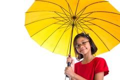 Little Girl and Yellow Umbrella VIII Royalty Free Stock Photo