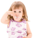 Little girl with yogurt Stock Photography
