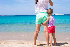 Little girl and young mother during beach vacation Royalty Free Stock Images