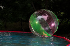 Little girl in Zorb in the pool Stock Photos