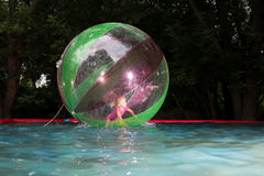 Little girl in Zorb in the pool Stock Images