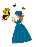 Little girl with butterfly Stock Photo