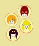 Little Girls. Vector signs of girl's faces royalty free illustration