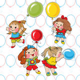 Little girls. With balloons. The background contains a seamless pattern Royalty Free Stock Images