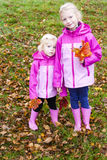 Little girls in autum Royalty Free Stock Photography