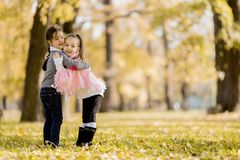 Little girls in the autumn park Royalty Free Stock Photo
