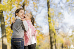 Little girls in the autumn park Stock Photography
