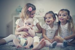 Little girls with baby brother . Portrait. stock images