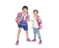 Little girls with backpack Royalty Free Stock Image