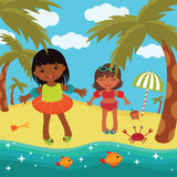 Little girls on the beach. A vcetor illustration of two little girls playing on the beach Royalty Free Stock Image