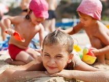 Little girls on the beach Stock Photos
