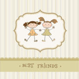 Little girls best friends. Two cartoon little girls best friends stock illustration