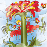 Little girls on big flower. Illustration of two little girls in red dresses sitting on fantasy big flower Royalty Free Stock Photography
