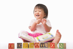 Little girls, book and education Stock Image