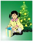 Little girls-christmas present Stock Images
