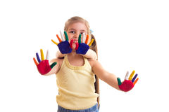 Little girls with colored hands Stock Images
