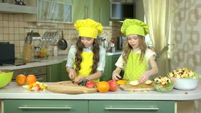 Little girls cooking. stock video footage
