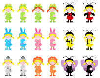 Little girls in costumes. Little girls in animal and bug costumes royalty free illustration