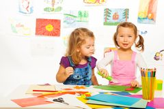 Little girls and creativity Royalty Free Stock Images