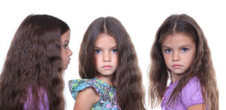 Little girls. Cute little girls on a white background Stock Images