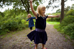 Little girls dancing Stock Image