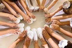 Little girls dancing ballet. In studio, top view Royalty Free Stock Photo