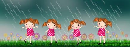 Little girls dancing under the rain. Kids girl dancing under the rain illustrations background stock illustration