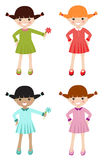 Little girls with different color clothing stock illustration