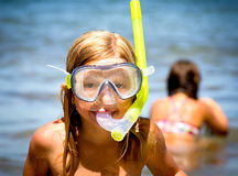 Little girls with diving mask Royalty Free Stock Photography