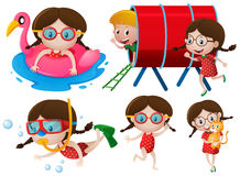 Little girls doing many activities Stock Image