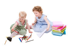 Little Girls Drawing Royalty Free Stock Image