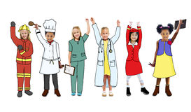 Little Girls and Dream Job Concepts Royalty Free Stock Photography