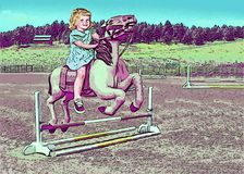 Little girls dream of riding a pony vector illustration
