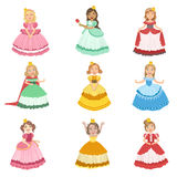 Little Girls Dressed As Fairy Tale Princesses. Set Of Cute Flat Characters In Bright Colored Clothes  On White Background Royalty Free Stock Photos