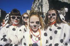 Little Girls Dressed in Mardi Gras Dalmatian Costumes, New Orleans, Louisiana Stock Photography