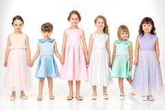 Little girls in dresses of princesses Royalty Free Stock Photos