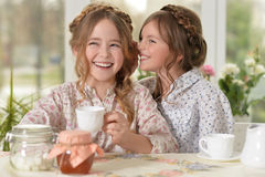 Little girls drinking tea. Two smiling little girls drinking tea at home Stock Images