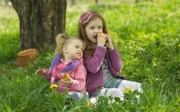 Little girls eat apples. Two little girls eating apples in garden Stock Photo