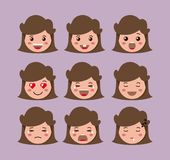 Little girls emoticon set kawaii characters. Vector illustration design Royalty Free Stock Photography
